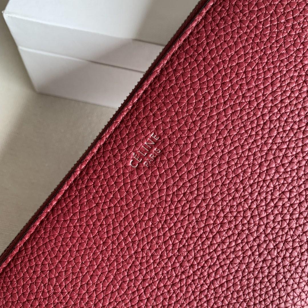 CELINE 19厘米 枣红 荔枝纹拉链钱包