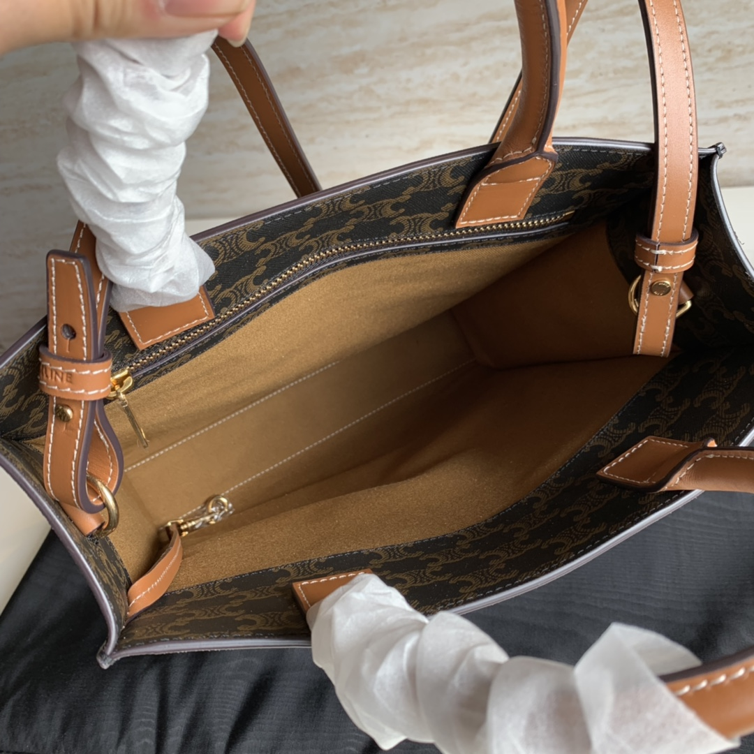 CABAS TRIOMPHE帆布小号竖款手袋  11 X 13 X 3英寸(28.5 X 33 X 8厘米)